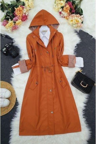 Astarı Striped Trench coat       -Tile