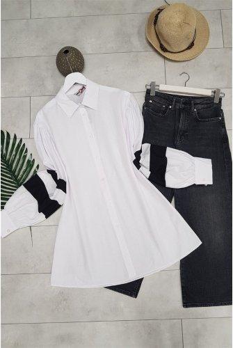 Balloon Arm Stripe Shirt -White