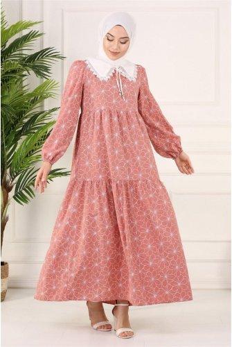 Bebe Collar pieced Long Dress -Rose Kurusu