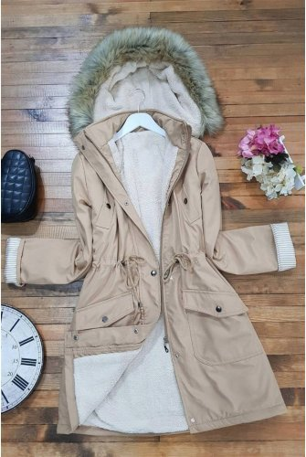 waisted Laced Hooded Coat -Mink