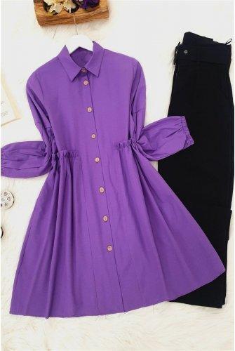 waisted Frilly Shirt -Purple