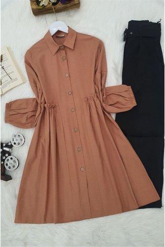 waisted Frilly Shirt -Light Pink