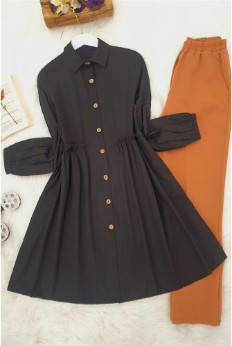waisted Frilly Shirt -Black