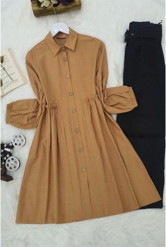 waisted Frilly Shirt -Taba