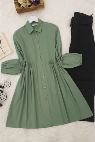 waisted Frilly Shirt -Green