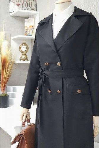 waisted Arched epaulets Long Women-Jackets -Black