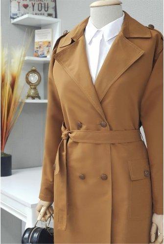 waisted Arched epaulets Long Women-Jackets -Taba