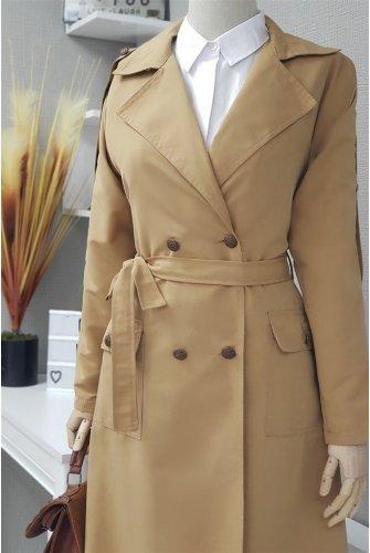waisted Arched epaulets Long Women-Jackets -Mink
