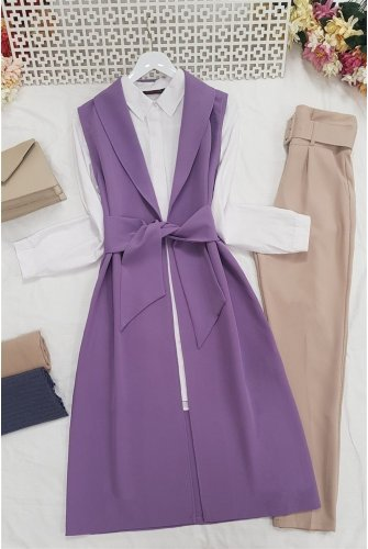 waisted Belted Wrap Collar Vest -Lila