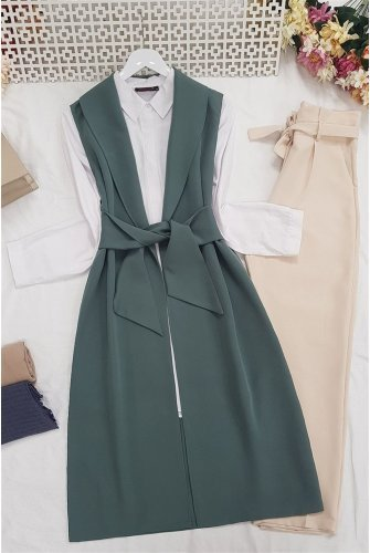 waisted Belted Wrap Collar Vest -Mint