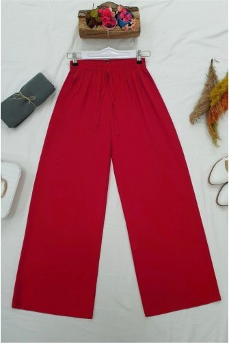 waisted Elastic Laced Viscose Pants-Red