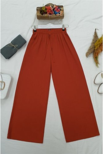 waisted Elastic Laced Viscose Pants-Tile