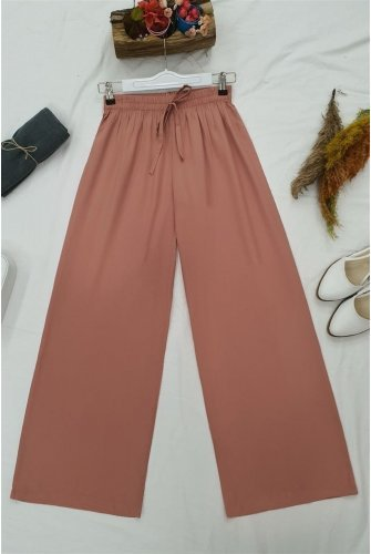 waisted Elastic Laced Viscose Pants-Light Pink