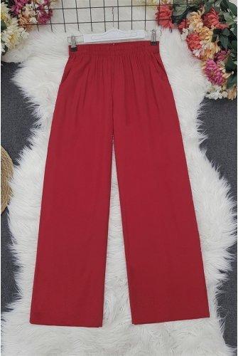 waisted Elastic Pockets down at heels Viscose Pants -Red