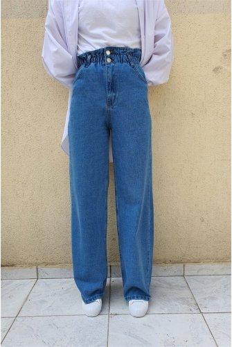 waisted Elastic Double Button Plentiful Trotter Jeans Pants -Blue