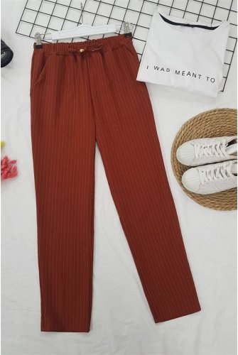 waisted Elastic Striped Lace Detailed Pants -Tile