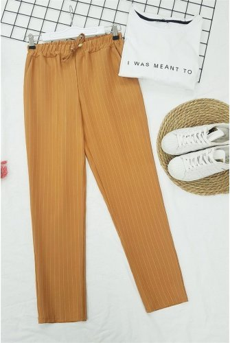 waisted Elastic Striped Lace Detailed Pants -Mustard