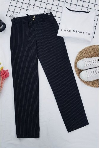 waisted Elastic Striped Lace Detailed Pants -Black