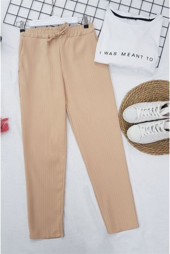 waisted Elastic Striped Lace Detailed Pants -Beige