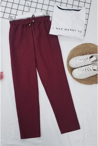 waisted Elastic Striped Lace Detailed Pants -Claret Red