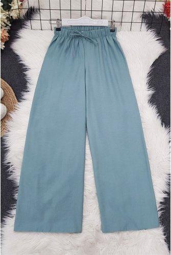 waisted Elastic down at heels Pants    -Mint