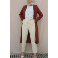 waisted Pleated Arched Pants -Stone