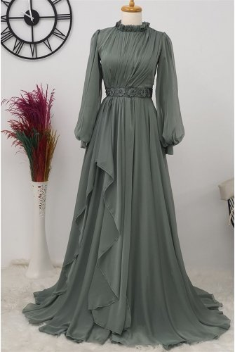 waisted stony Tulle Dress -Mint