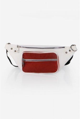 White Velvet Pockets Leather Waist bag