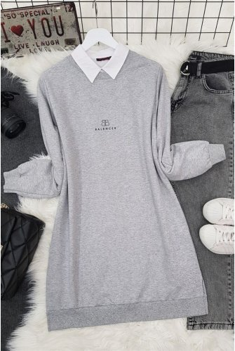 Bicycle Collar Written on it Baskılı Penye Tunics -Grey