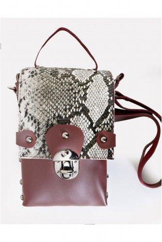 Claret Red Yılan Desen Metal Accessory El Ve Cross Bag