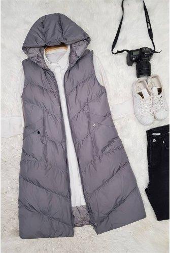 pocket Snap Detailed Inflatable Vest -Grey