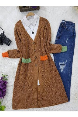 Pockets Colored Cardigan -Taba