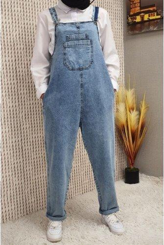 Pockets Jeans Overalls  -Buz Blue