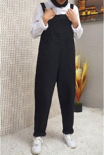 Pockets Jeans Overalls -Black