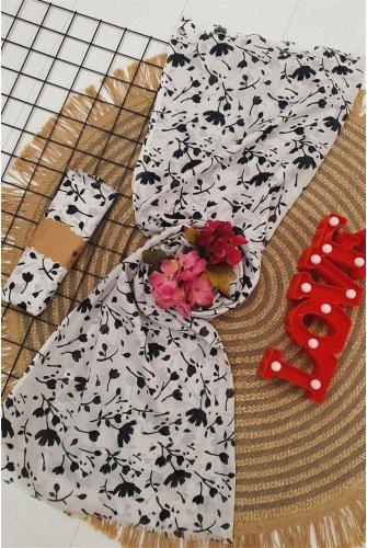 Çiçek Desen Viscose Wrap -White