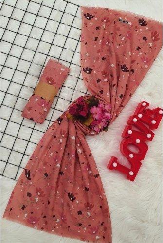 Çiçek Desen Viscose Wrap -Hot pink
