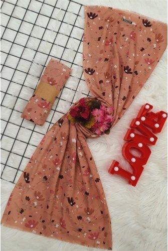 Çiçek Desen Viscose Wrap -Rose Kurusu