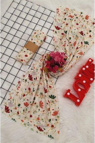 Çiçek Desen Viscose Wrap -Khaki