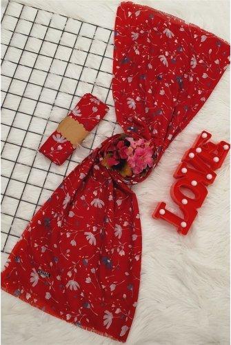 Çiçek Desen Viscose Wrap -Red