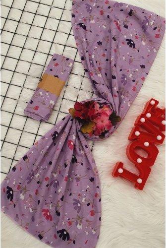 Çiçek Desen Viscose Wrap -Lila