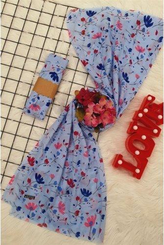 Çiçek Desen Viscose Wrap -Blue