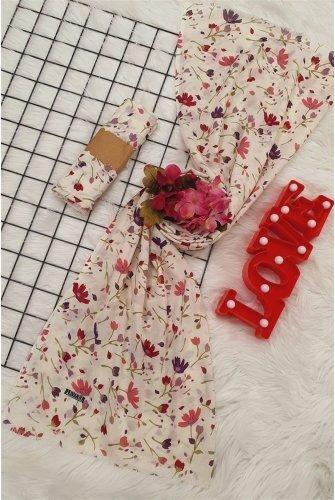 Çiçek Desen Viscose Wrap -Purple