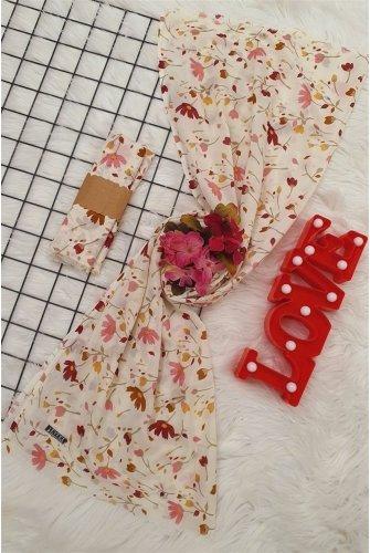 Çiçek Desen Viscose Wrap -Pink