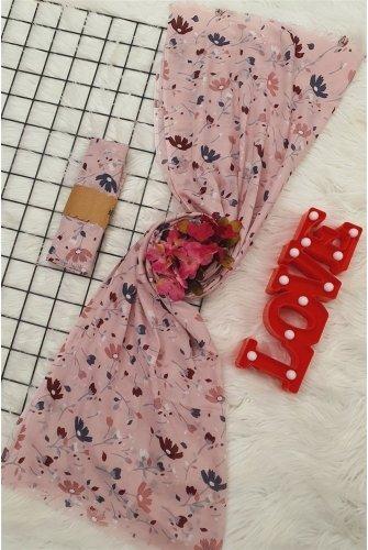 Çiçek Desen Viscose Wrap -Light Pink
