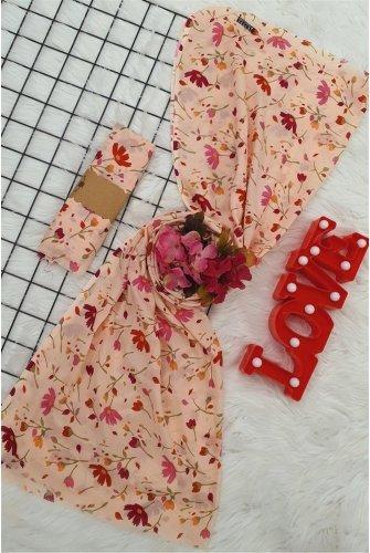 Çiçek Desen Viscose Wrap -Salmon