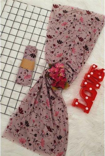 Çiçek Desen Viscose Wrap -Cherry