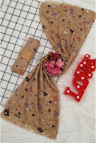 Çiçek Desen Viscose Wrap -Mink