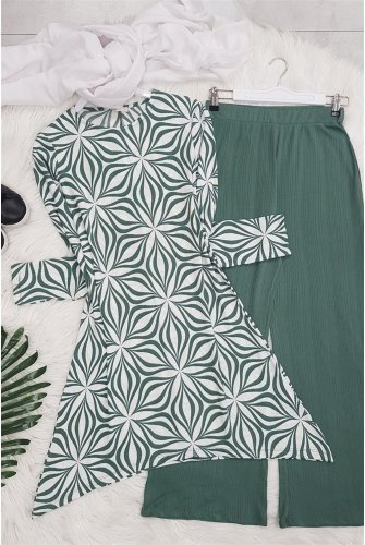 Patterned With Flowers Suit -Mint