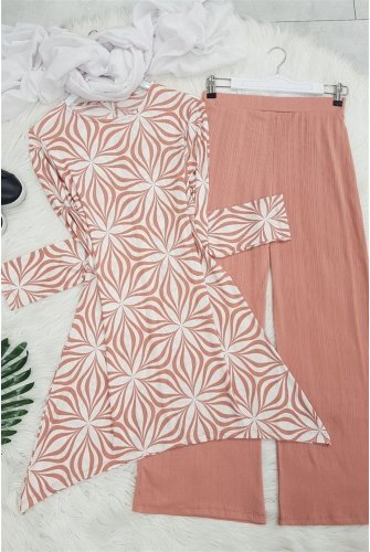 Patterned With Flowers Suit -Light Pink