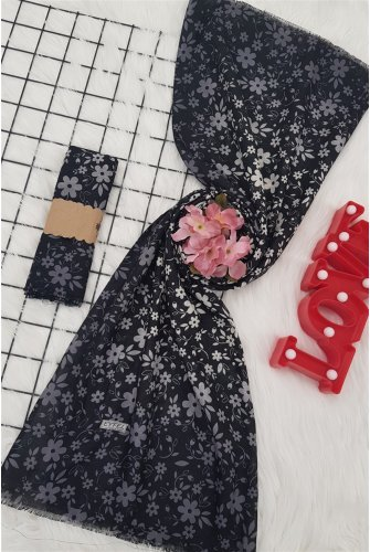 Patterned With Flowers Viscose Wrap -Black